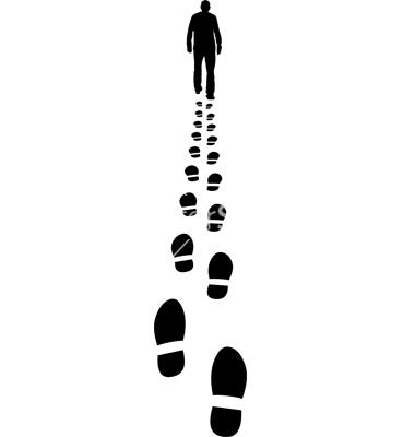 man walking away and his footprints