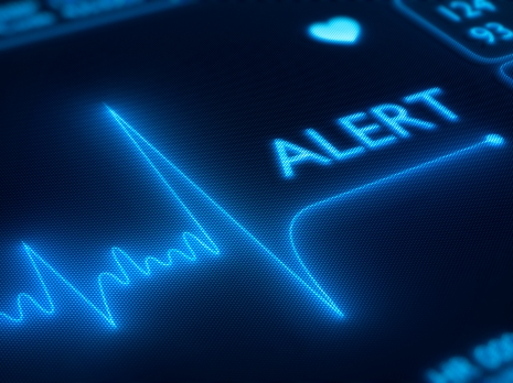 Flat line alert on a heart monitor - 3d render on detail pixellated screeen